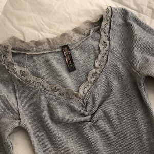 Free People grey stretchy top